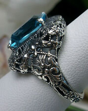 6ct *Aquamarine* Sterling Silver Intricate Victorian Filigree Ring Size: Any/MTO