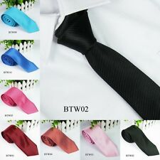 Men Casual Solid Plain Classic Striped Tie Jacquard Woven 100% Silk Slim Tie New
