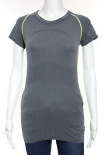 Lululemon Gray Green Contrast Stitch Mesh Panel Activewear Tee Shirt Size 8