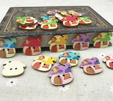 Wooden Cartoon buttons Mushroom house sewing scrapbooking buttons 25mm