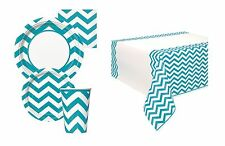 CARIBBEAN TEAL CHEVRON TABLEWARE {Unique} (Party/Decoration/Kids/Birthday)
