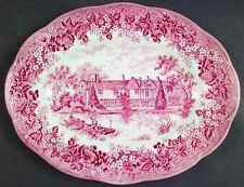 """J & G Meakin ROMANTIC ENGLAND RED 12 1/8"""" Oval Serving Platter 351385"""
