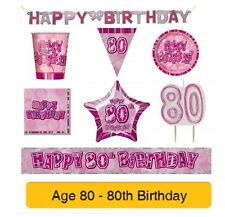 AGE 80 - Happy 80th Birthday PINK GLITZ - Party Banners, Balloons & Decorations