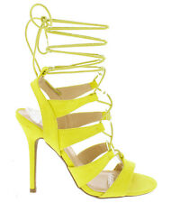 Wild Diva Yellow Chartreuse Lace up Heels Open toe Women's shoes Adele-236