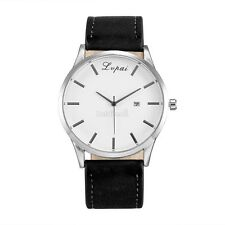 Men's Date Watch Stainless Steel Leather Analog Quartz Military Watches New /