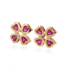 New Delicate Clover 18K yellow Gold Filled Colorful Heart Zirconia Stud Earring