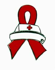 Red Ribbon Nurse Cap Lapel Pin Tac Tack Cancer Cause Awareness Medical Pins New
