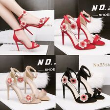 Korean Fashion Floral Open Toe High Heel Sandal Stiletto Ankle Strap Women Shoes