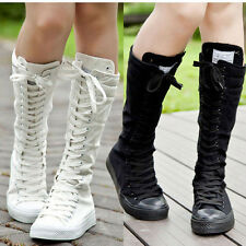 Fashion Canvas Shoes Boots Zip Lace Up Knee High Sneaker Pumps Student's Shoes
