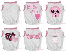 Pink White Top T-Shirt Bunny Heart Sweet Skull Pet Dog Puppy One Piece Clothes