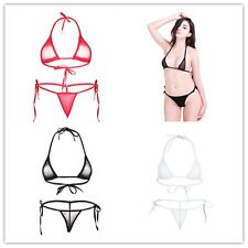 Swimwear Women Triangle Bikini Set Bandage Push-Up Swimsuit Beachwear-Mesh Top