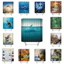Ocean Fish Theme Waterproof Shower Curtain With 12 Hooks For Bathroom Home Decor