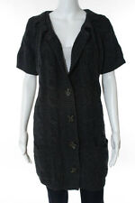 Vince Dark Gray Wool Cable Knit Button Front Cardigan Sweater Size Large