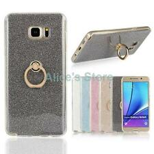 Bling Glitter Soft TPU Finger Ring Case Cover for Samsung Galaxy S5 S6 S7 Note 5