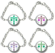Bracelet Christian JESUS FAITH HOPE LOVE Religious Cross Antique Silver Charm