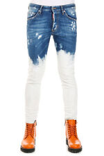 DSQUARED2 New Men Stretch Denim Bleach Denim Wash Jeans Original Made in Italy