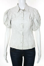 Prada Ivory Collared Short Sleeve Button Down Top Size 38
