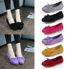 New Women Solid Color Casual Soft Flat Low Top Leather Loafers Moccasins Shoes