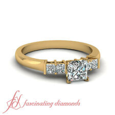 3/4 Ct Classic Princess Cut Diamond Engagement Ring In 18K Yellow Gold FLAWLESS