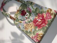 Vintage Walborg Purse Tapestry Rainbow Iridescent Beads Flowers Japan Label Big