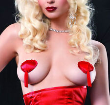HEART SHAPED RED SATIN TASSEL LEG AVENUE NIPPLE COVERS PASTIES BURLESQUE POKER