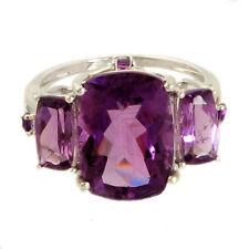 AMETHYST 8.13 CT NATURAL GEMSTONE RING IN 14 KT WHITE GOLD