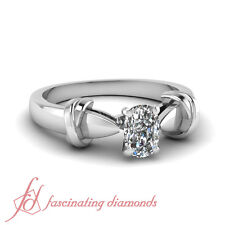 Solitaire Tapered Cathedral Engagement Ring 3/4 Ct Cushion Cut F-Color Diamond
