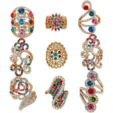 10 pcs Crystal Gold Plated Ring Wholesale Lot Color Design Mixed Fashion Jewelry