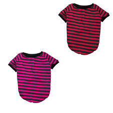 Pet Cat Cotton Blend Stripe Pattern Fashion Coat Clothes T-shirt Apparel Costume