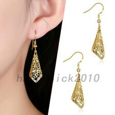 Classic Gold Plated Pierced Hollow Out Drop Dangle Earrings Anniversary Jewelry