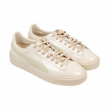 Puma Basket Platform Patent Womens White Patent Leather Sneakers Shoes