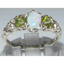Solid 925 Sterling Silver Natural Opal & Peridot English Victorian Trilogy Ring