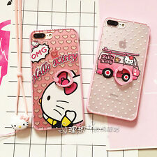 Cute Hello Kitty Bus Finger Rings TPU Case Cover for iPhone 7 7 Plus 6S+Lanyard