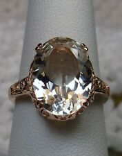 Natural White Topaz 10k Rose Gold Edwardian Filigree Ring Size {Made To Order}