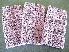3 Hand Crocheted  Dishcloths / Washcloths 100% Cotton ~ Lavender