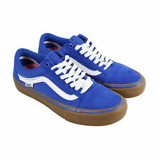 Vans Old Skool Pro Mens Blue Suede High Top Lace Up Sneakers Shoes