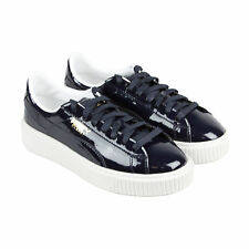 Puma Basket Platform Patent Womens Black Patent Leather Lace Up Sneakers Shoes