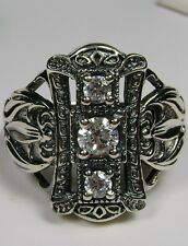 White Gem Sterling Silver Edwardian/Victorian Filigree Ring Size {Made To Order}