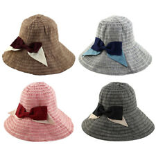 Women Lady Canvas Bowknot Shape Decor Brimmed Beach Cap Topee Floppy Hat