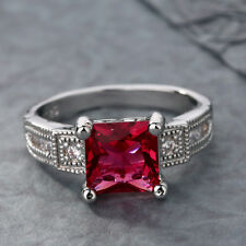 HOT Silver Women Ring Set with red Crystal Jewelry Size 7,8,9,10 Display