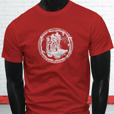 WESTERN COWBOY BOOTS RODEO COWGIRL COUNTRY HOWDY Mens Red T-Shirt