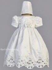 Girls White Christening Baptism Gown Dress Embroidery Pearls Cut Work Sz 3M-24M