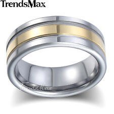 8mm Mens Wedding Band Ring Silver Tungsten Carbide Yellow Gold Center US Sz 8-13