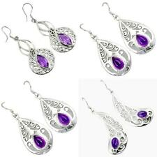 Natural amethyst 925 sterling silver earrings jewelry by jewelexi 4906A
