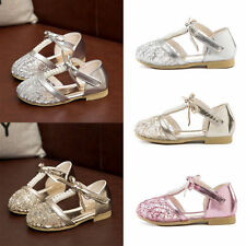 2017 Dancing Kid Girls Flat Sandals Shoes Princess T-strap Party Wedding Shoes