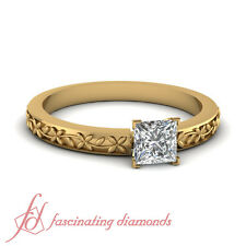 Solitaire Engraved Floral Chain Engagement Ring 1 Carat Princess Cut Diamond GIA