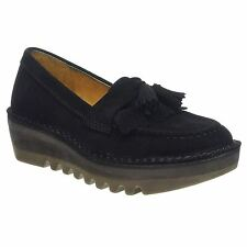 Fly London Juno Black Womens Wedge Loafer Slip on Shoes Various Sizes