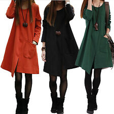 Casual Slouch Vintage T Shirt Long Sleeve Ladies Party Loose Dress UK sz 8-18