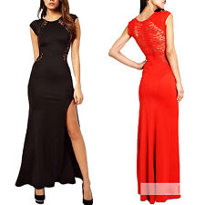 Side Fitted Lace Maxi Clubbing Ladies Cocktail Dress UK sz 6-14