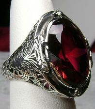 16ct *Red Ruby* Sterling Silver Victorian Design Filigree Ring (Made To Order)